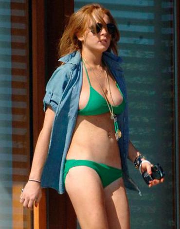 Lindsay Lohan in a green bikini
