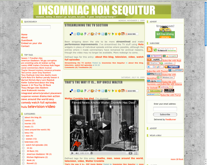 Insomniac Non Sequitur running on Serendipity