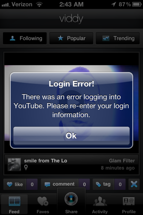 Viddy YouTube error screenshot