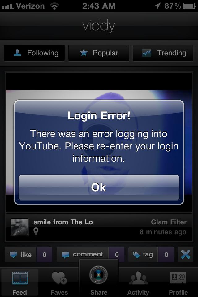 Viddy YouTube error screenshot
