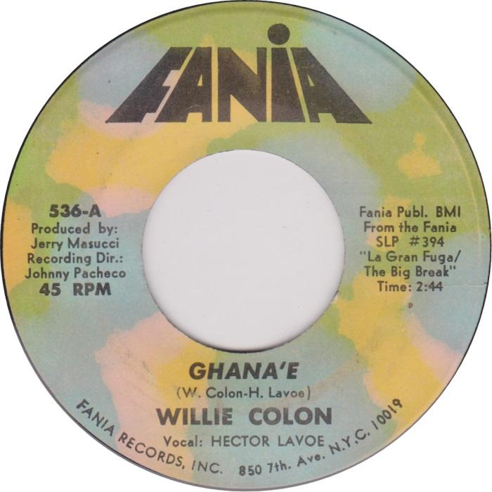 Ghane'e Fania 45 RPM label